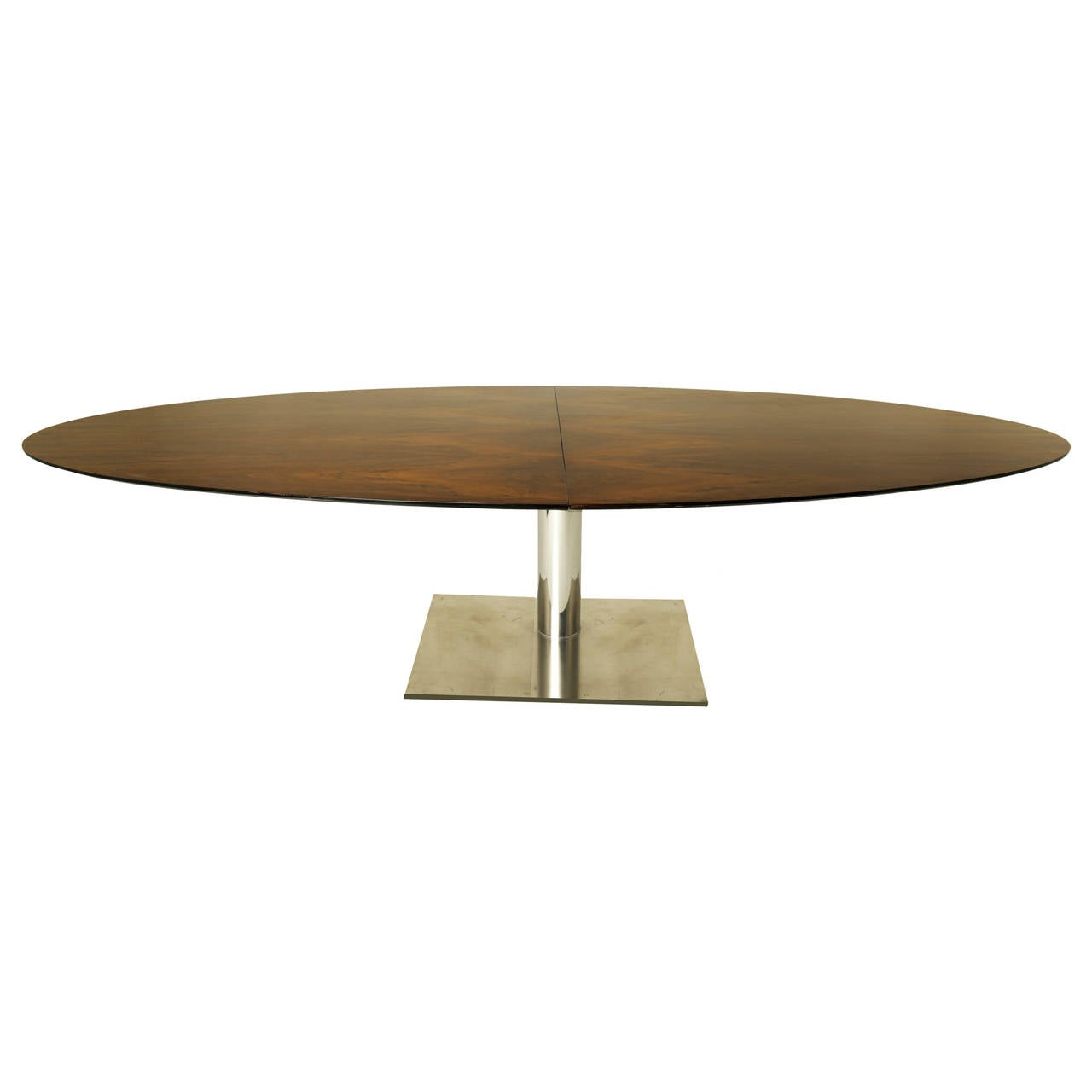 Massive Brazilian Oval Imbuia Dining Table With Stainless Base For