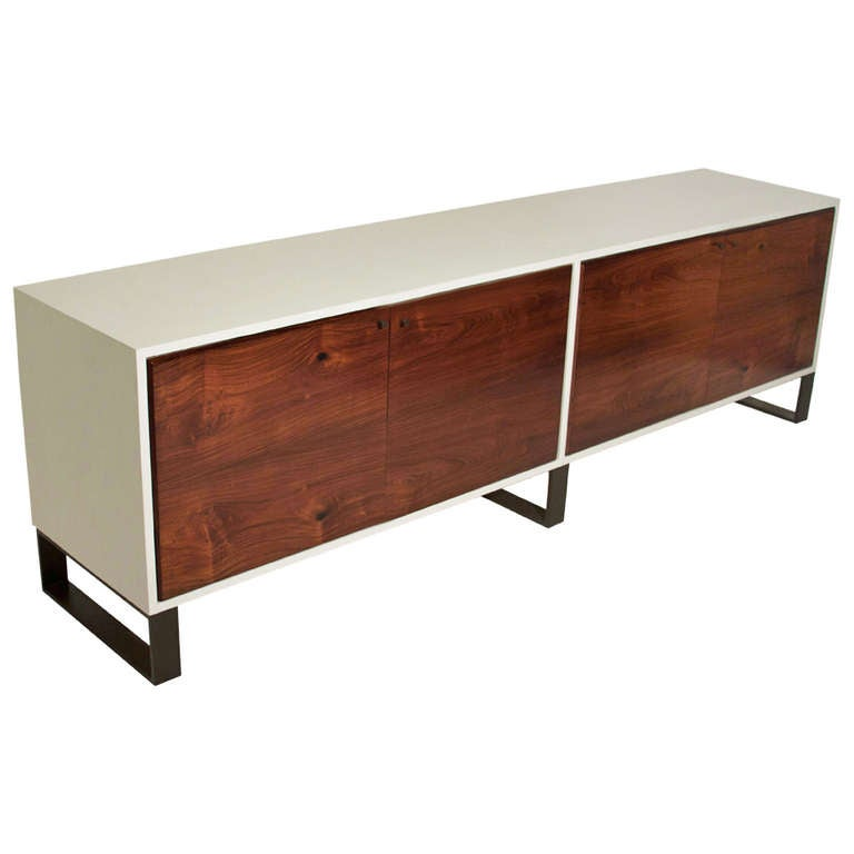 Salvaged Caviuna & White Leather Credenza by Thomas Hayes Studio