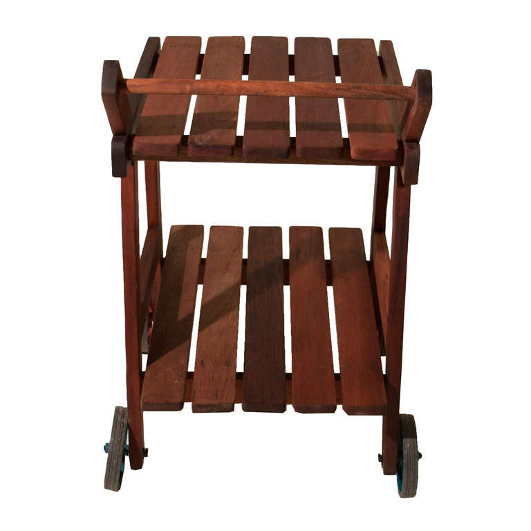 Brazilian Sergio Rodrigues Vinhatico Wood Tea or Bar Cart on Rollers  For Sale