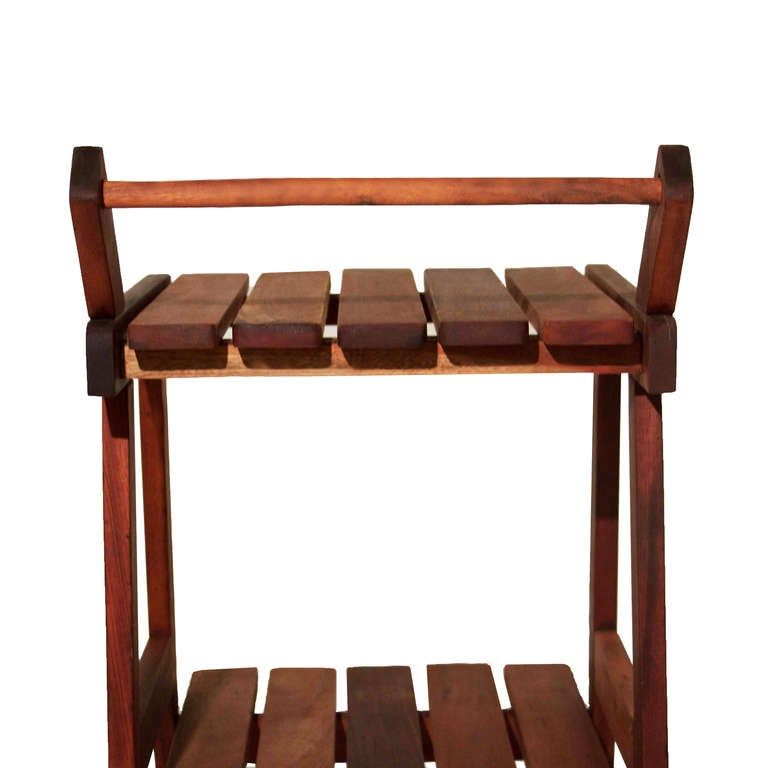 Sergio Rodrigues Vinhatico Wood Tea or Bar Cart on Rollers  In Good Condition For Sale In Los Angeles, CA