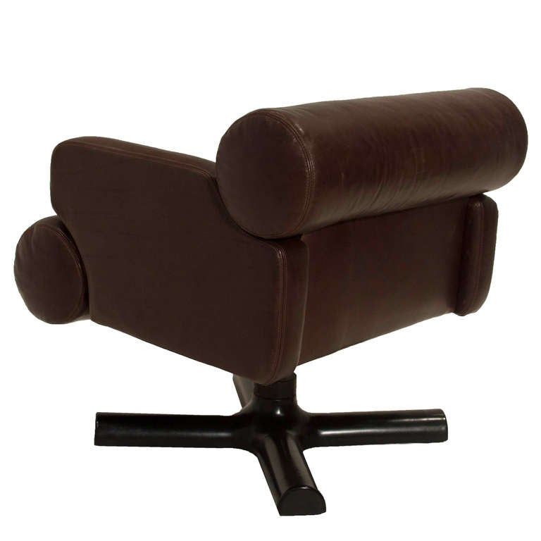 Pair French Brown Leather Swivel Chairs at 1stdibs