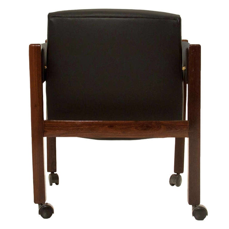 single solid rosewood and black leather chair sergio rodrigues