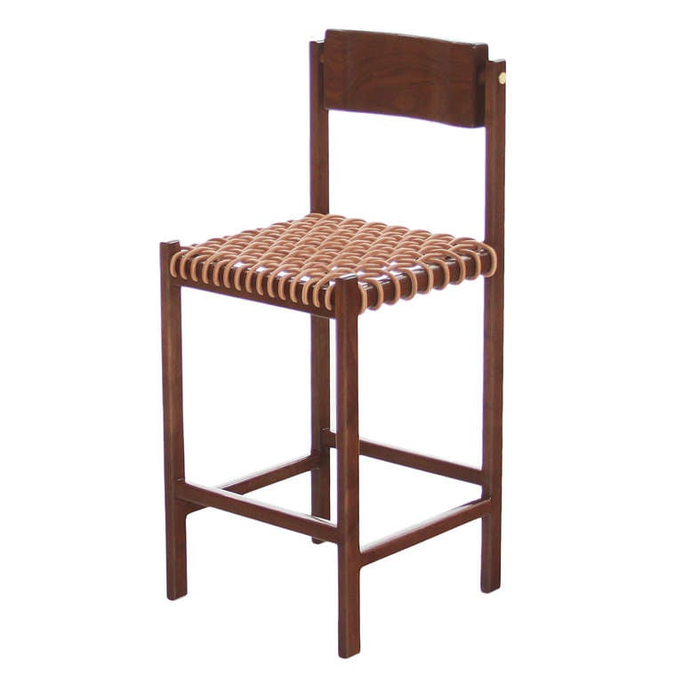 The Leather Cord Bar Stool By Thomas Hayes Studio At 1stdibs
