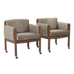 Pair of Midcentury Solid Oak and Velvet Fabric Armchairs