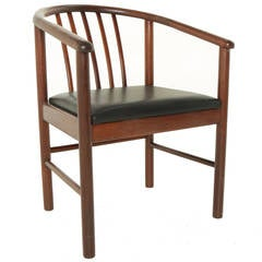 Vintage Brazilian Rosewood and Leather Curved Back Armchair