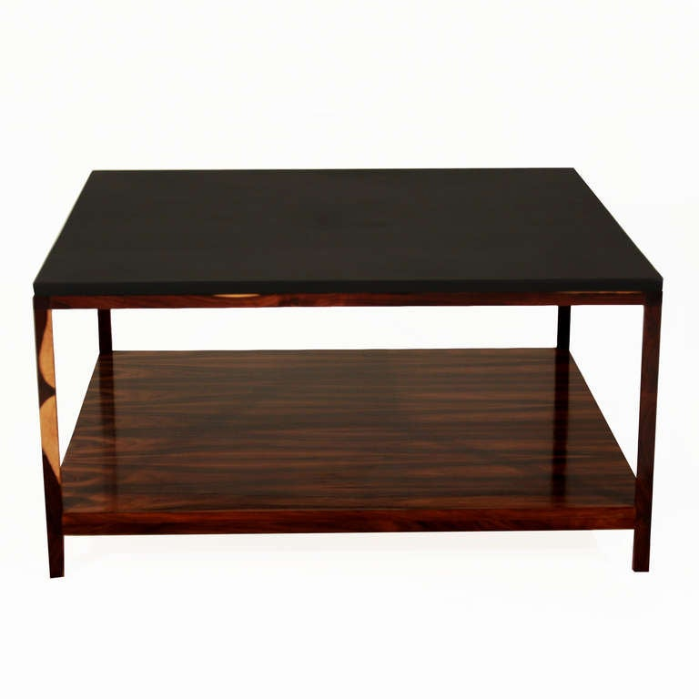 Rosewood And Black Leather Coffee Table By Thomas Hayes Studio At 1stdibs