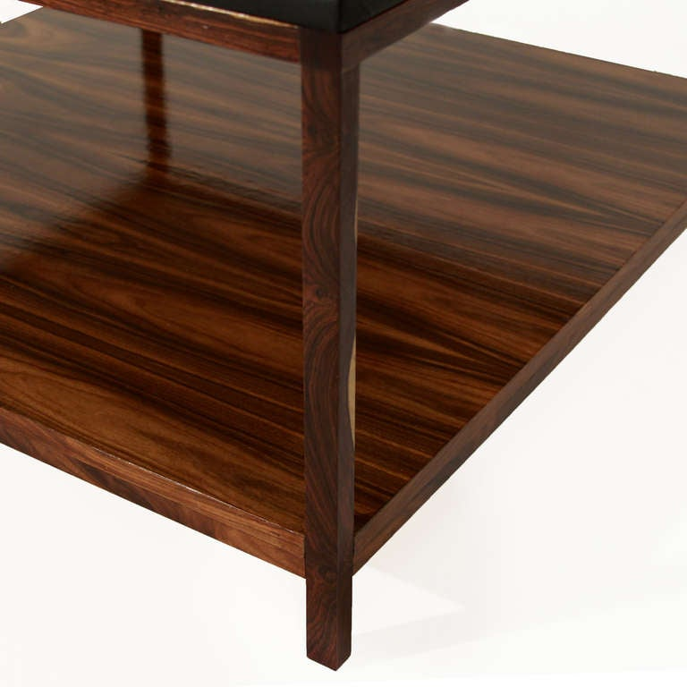 Rosewood And Black Leather Coffee Table By Thomas Hayes Studio At