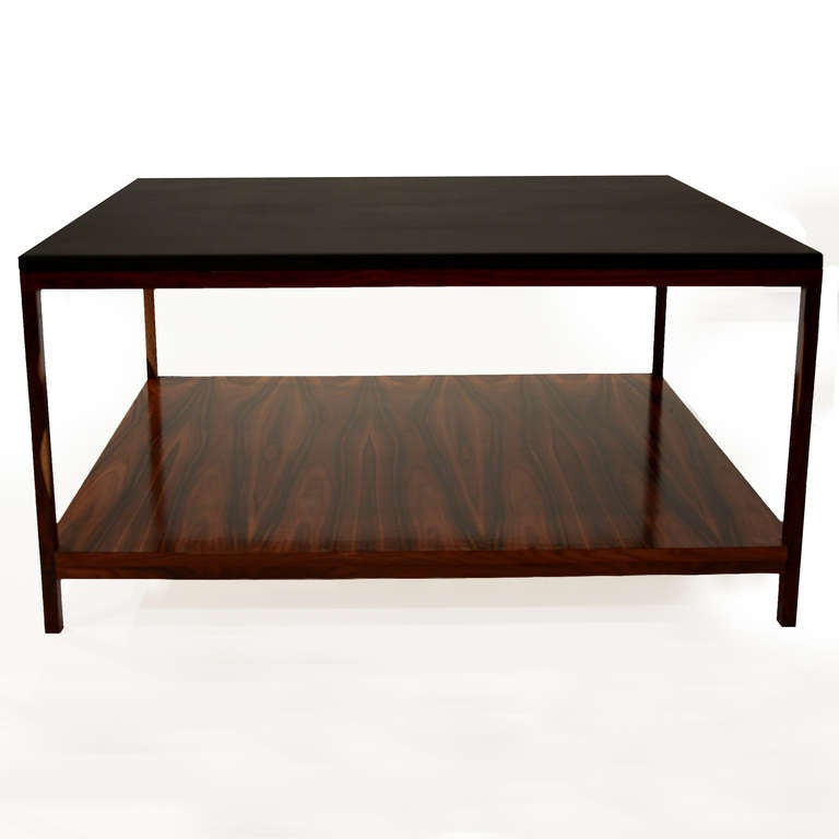 Rosewood And Black Leather Coffee Table By Thomas Hayes Studio Image 4