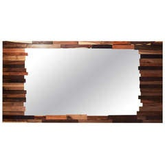 Patchwork wood mirror by Thomas Hayes Studio