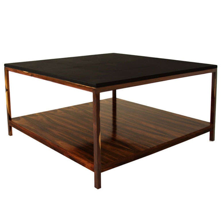 Rosewood And Black Leather Coffee Table By Thomas Hayes Studio