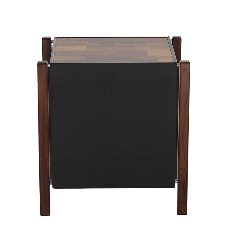 Patchwork Rosewood Side Table by Jorge Zalszupin In Good Condition For Sale In Hollywood, CA