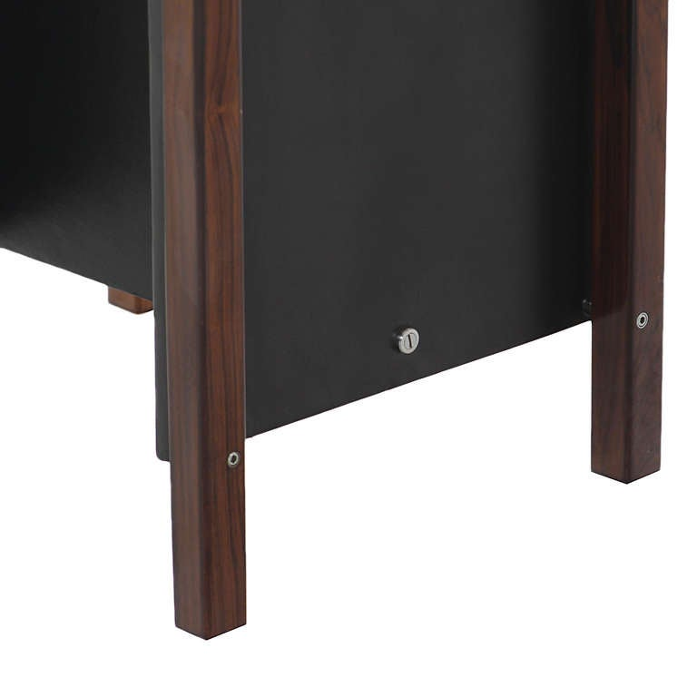 Chrome Patchwork Rosewood Side Table by Jorge Zalszupin For Sale