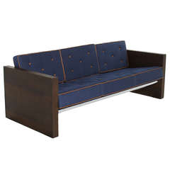 Solid Walnut Sofa Upholstered in Blue Denim with Leather Accents