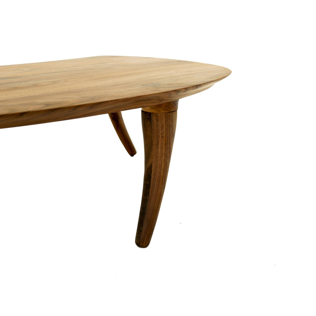 Sculptural walnut coffee table with curved legs at 1stdibs for Center table coffee table
