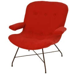 Martin Eisler Red Fabric and Iron Armchair