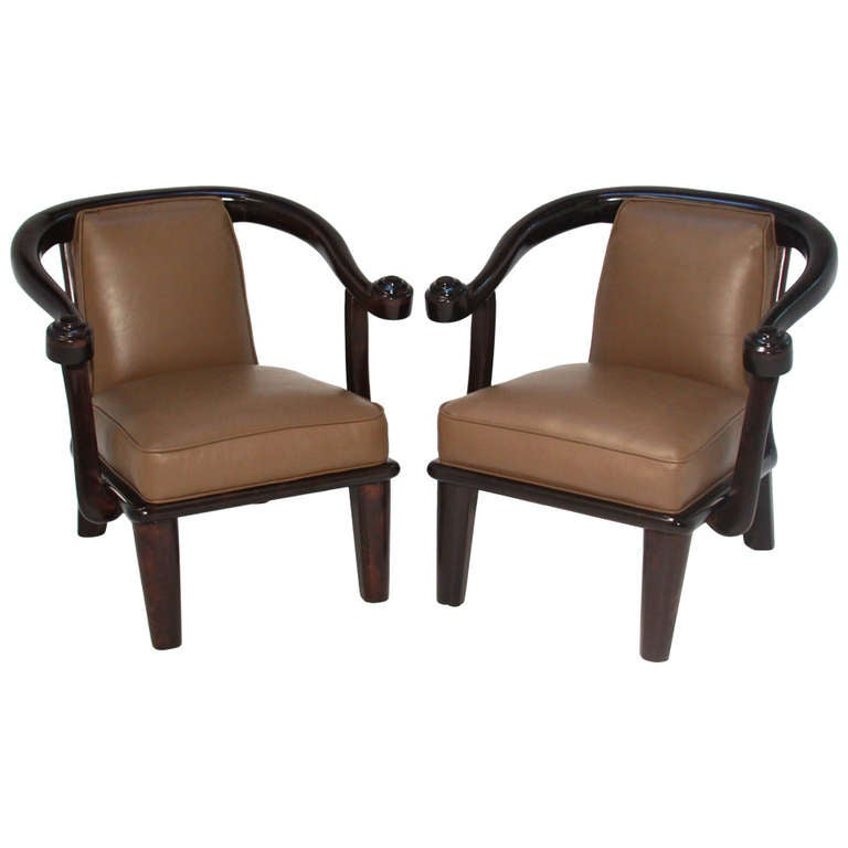 Monteverdi-Young Mahogany and Leather Sculptural Vintage Armchairs