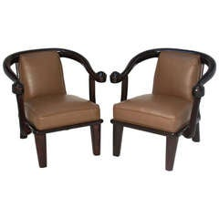 Pair of Vintage Mahogany Sculptural Scroll-Arm Lounge Chairs Armchairs
