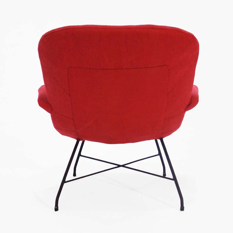 Martin Eisler Red Fabric and Iron Armchair Lounge Chair For Sale at 1stdibs