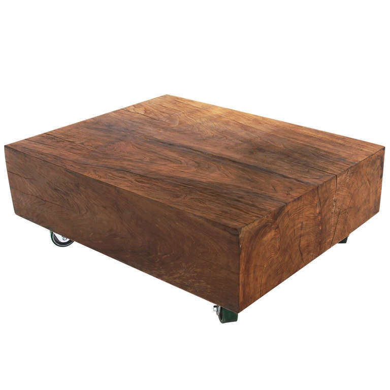 Massive solid teak block coffee table at 1stdibs for Solid block wood coffee table