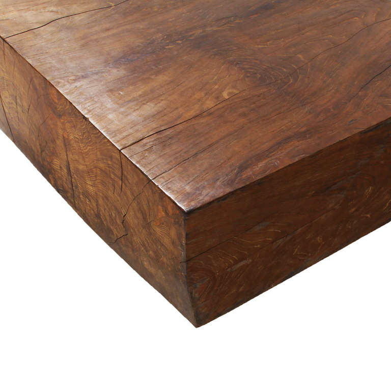 Massive solid teak block coffee table at 1stdibs for Small block coffee table