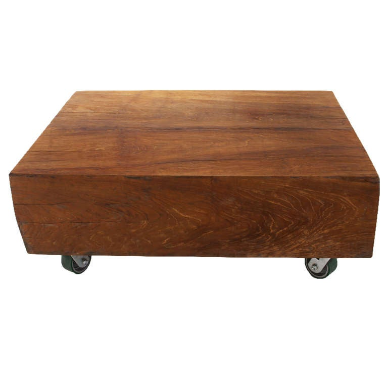 massive solid teak block coffee table at 1stdibs