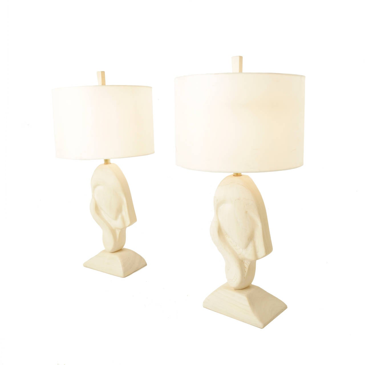 pair of sculptural bleached wood table lamps for sale at 1stdibs. Black Bedroom Furniture Sets. Home Design Ideas