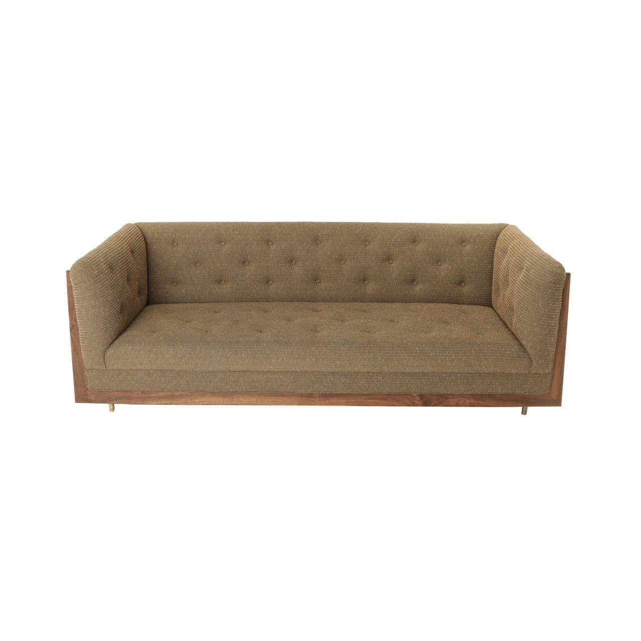 Oiled Hannah Sofa with Walnut Spines and Bronze Legs by Thomas Hayes Studio For Sale