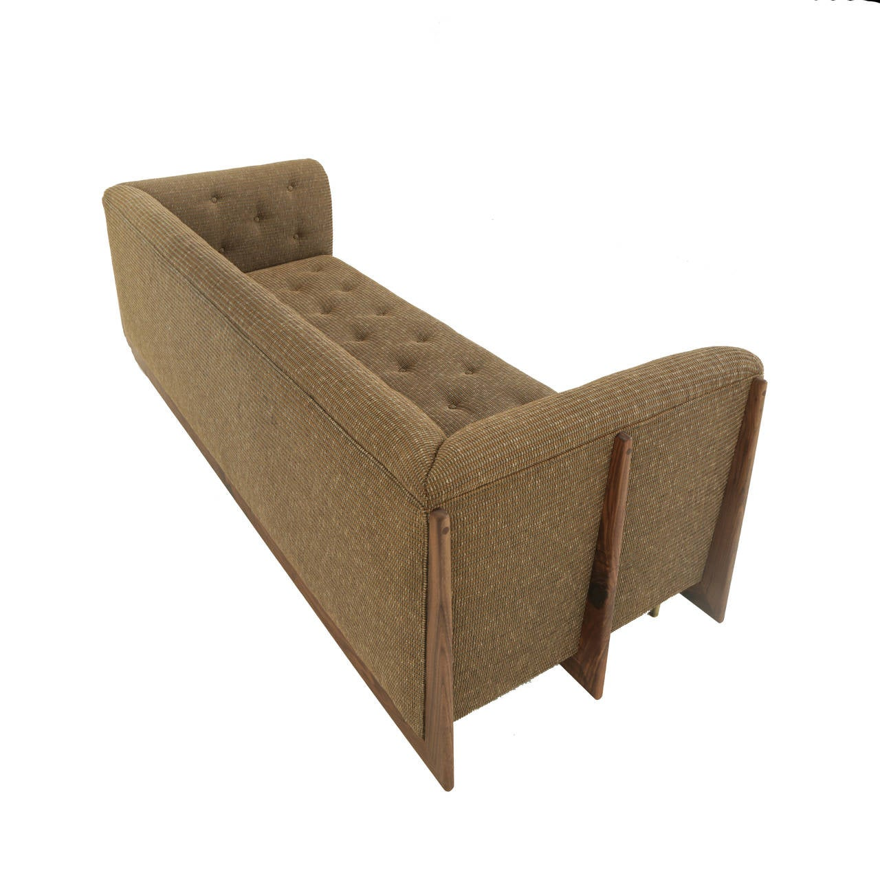 Hannah Sofa with Walnut Spines and Bronze Legs by Thomas Hayes Studio In Excellent Condition For Sale In Hollywood, CA