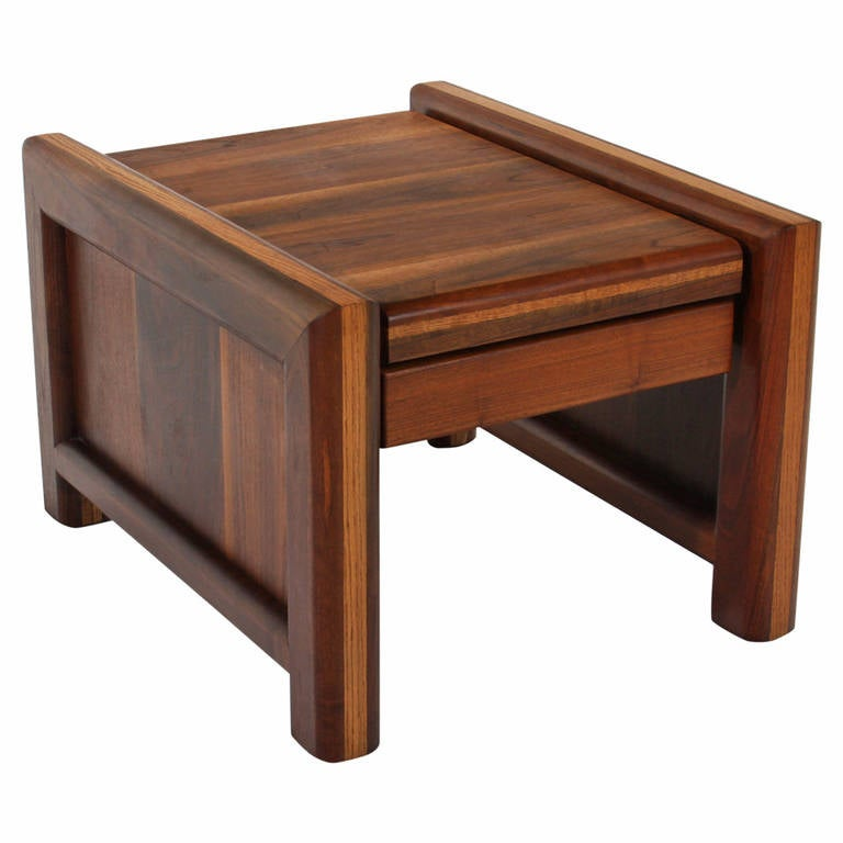 Midcentury Solid Walnut and Oak Side Table
