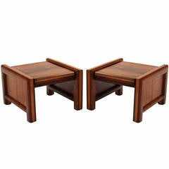 Pair of Midcentury Solid Walnut and Oak Side Tables