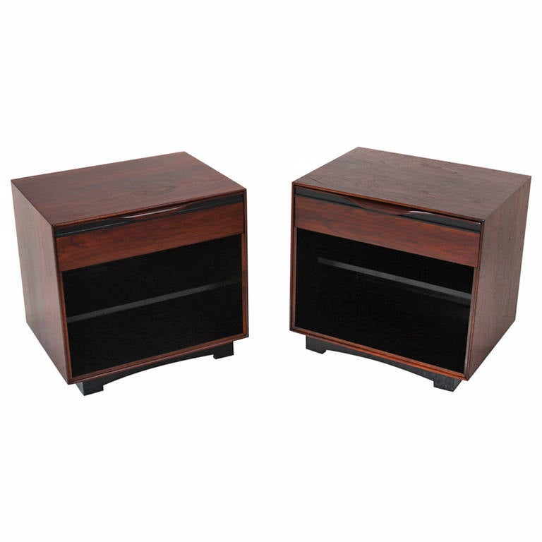 Pair Of Walnut And Black Trim Night Stands By Glenn Of