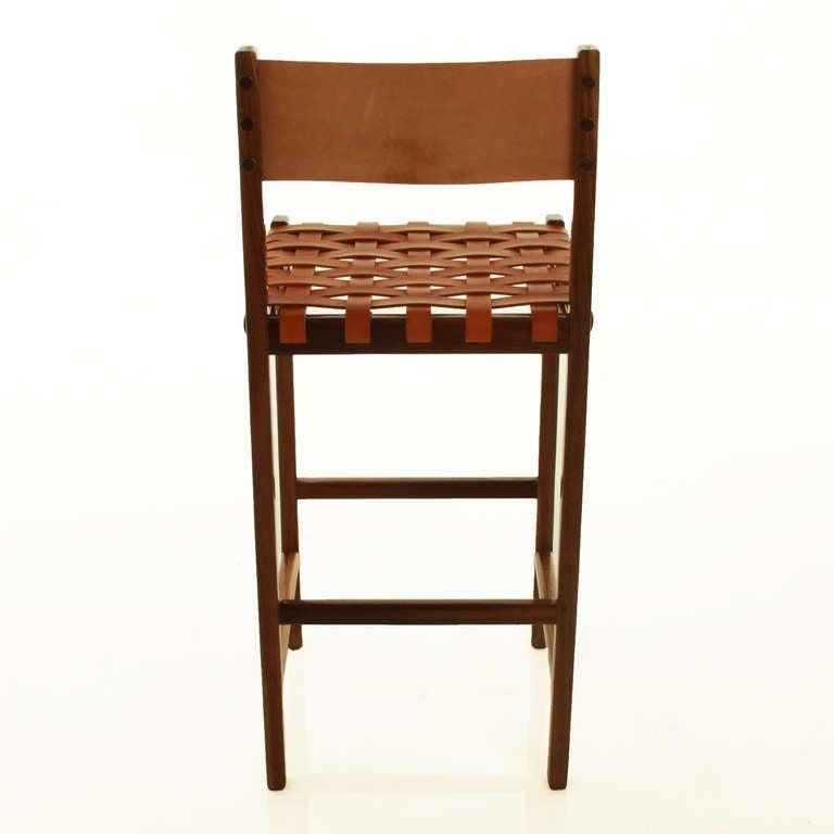 The Basic Leather Strap Bar Stool By Thomas Hayes Studio