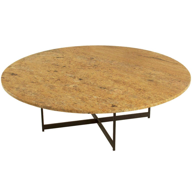 Round Granite And Bronze Coffee Table Milo Baughman Attribution At 1stdibs