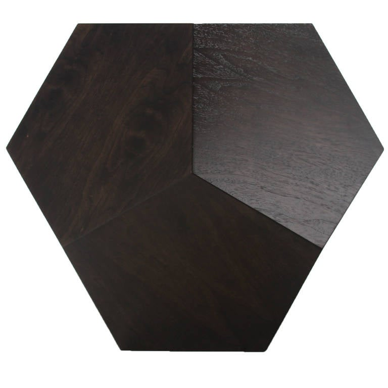 Dodecahedron Side Table in Walnut by Thomas Hayes Studio In Excellent Condition For Sale In Hollywood, CA