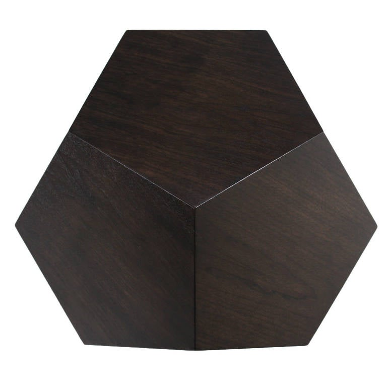 Contemporary Dodecahedron Side Table in Walnut by Thomas Hayes Studio For Sale