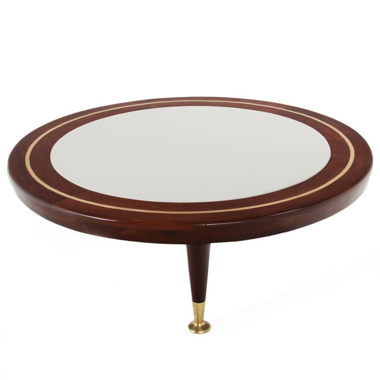 Three leg round coffee table with inset leather top and brass accents at 1stdibs Brass round coffee table