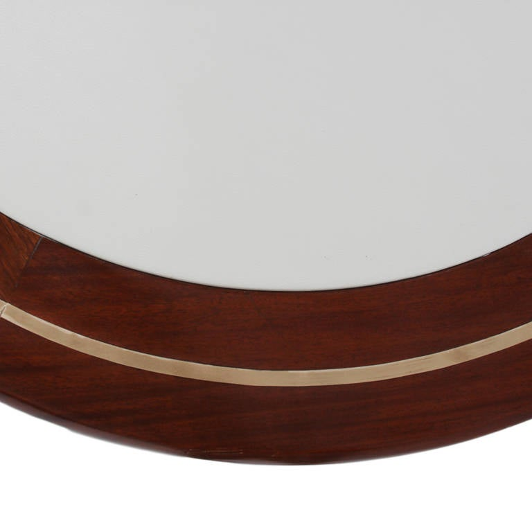 Three Leg Round Coffee Table With Inset Leather Top And Brass Accents