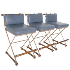 Set of Three Cleo Baldon Campaign Counter Stools in Blue Vinyl