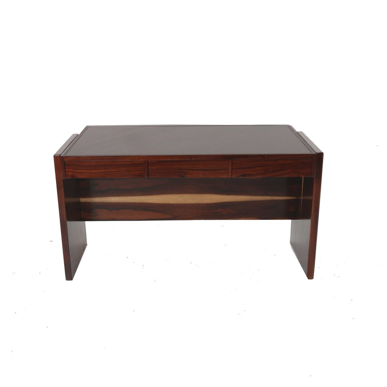Rosewood and Glass Desk by Joaquim Tenreiro In Good Condition For Sale In Los Angeles, CA