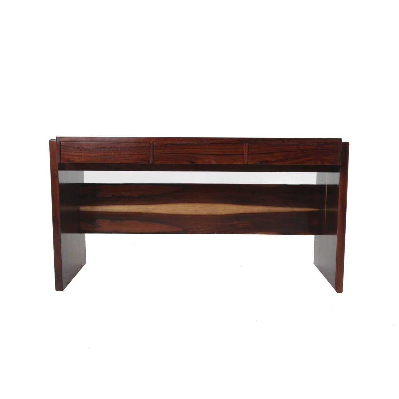 Brazilian Rosewood and Glass Desk by Joaquim Tenreiro For Sale
