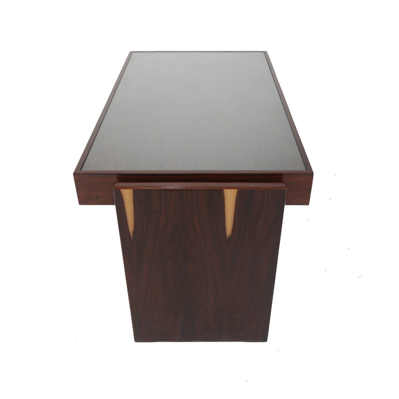 Mid-20th Century Rosewood and Glass Desk by Joaquim Tenreiro For Sale