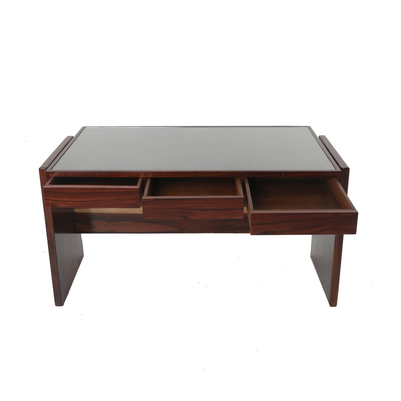 Rosewood and Glass Desk by Joaquim Tenreiro For Sale 2