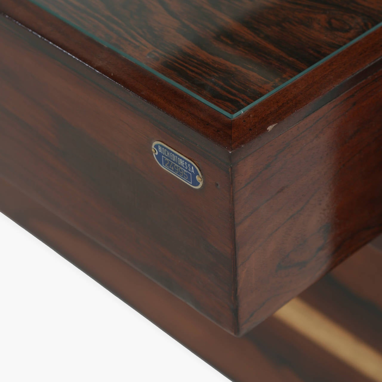 Rosewood and Glass Desk by Joaquim Tenreiro For Sale 4