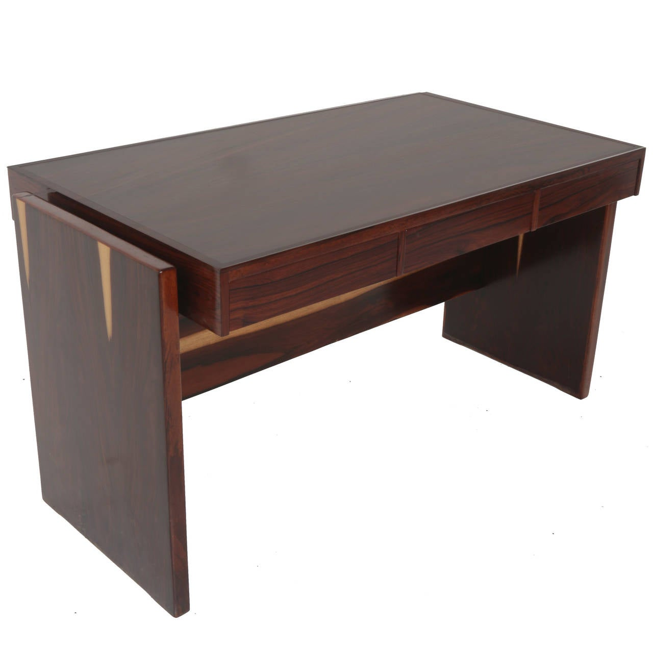 Rosewood and Glass Desk by Joaquim Tenreiro For Sale