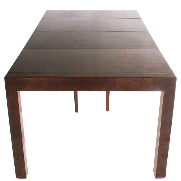 Milo Baughman Walnut Burl Parsons Dining Table With Leaves