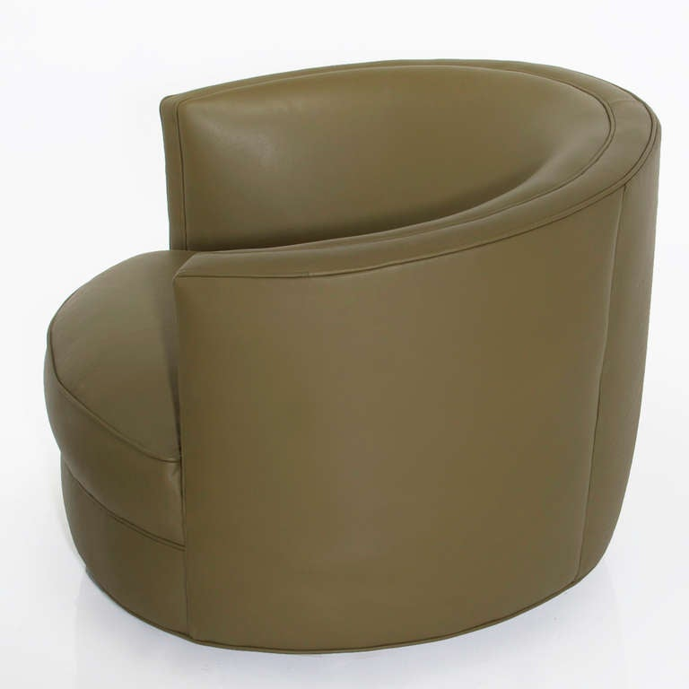 Pair Of Olive Green Barrel Back Swivel Lounge Chairs At