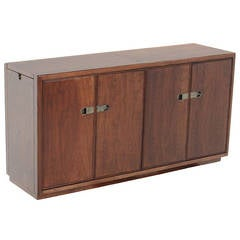 Mid-Century Modern Drexel Walnut Credenza with Original Bronze Hardware