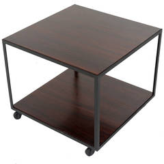 Square Rosewood Side Table on Casters