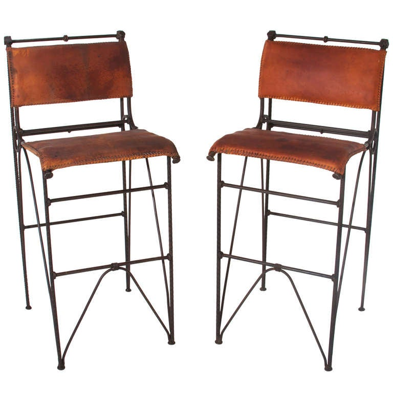 Pair Of Vintage Iron And Leather Bar Stools By Ilana Goor