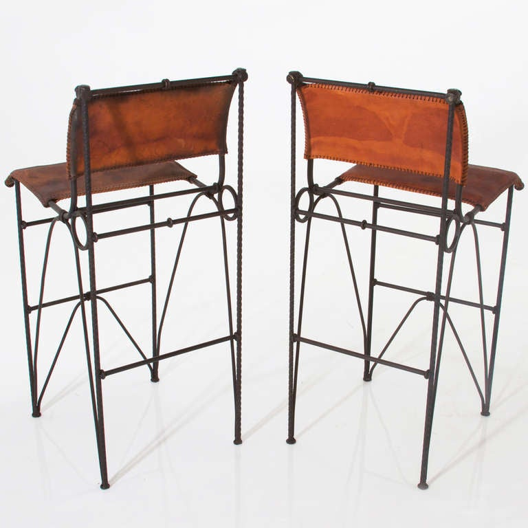 pair of vintage iron and leather bar stools by ilana goor 3